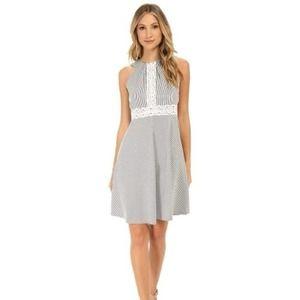 London Times Seersucker Halter Dress Size 6 Gray